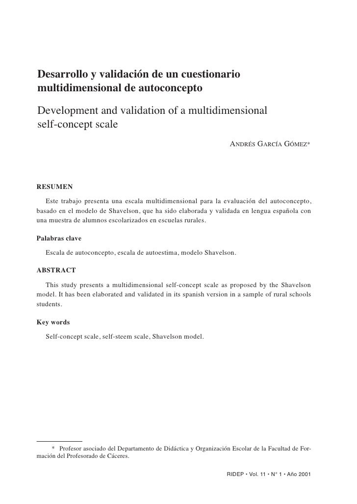 Desarrollo y validación de un cuestionario multidimensional de autoconcepto  Development and validation of a multidimensio...