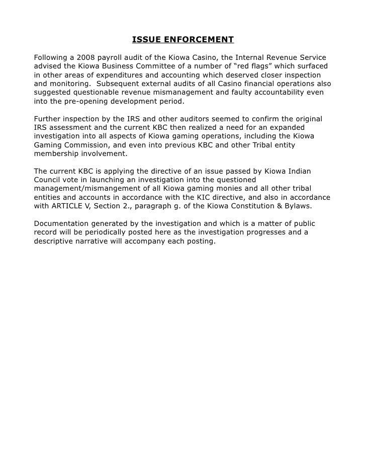 ISSUE ENFORCEMENT  Following a 2008 payroll audit of the Kiowa Casino, the Internal Revenue Service advised the Kiowa Busi...