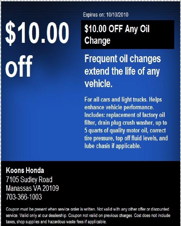 Manassas koons honda oil change coupon va for Honda oil change coupon