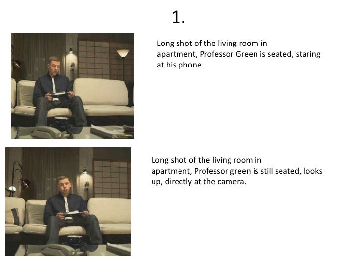 1.<br />Long shot of the living room in apartment, Professor Green is seated, staring at his phone.<br />Long shot of the ...