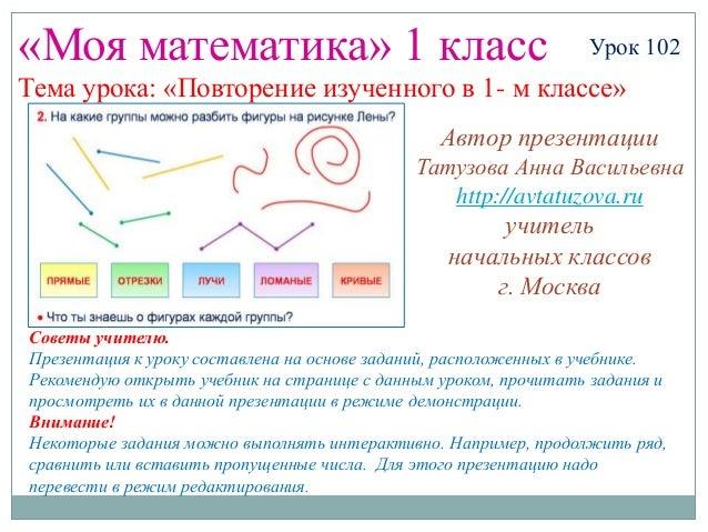 «Моя математика» 1 класс                                         Урок 102Тема урока: «Повторение изученного в 1- м классе»...