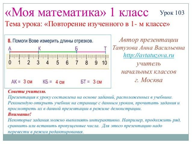«Моя математика» 1 класс                                         Урок 103Тема урока: «Повторение изученного в 1- м классе»...