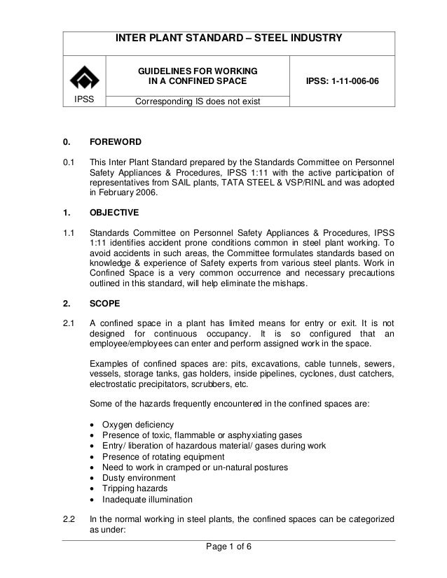 INTER PLANT STANDARD – STEEL INDUSTRY                     GUIDELINES FOR WORKING                       IN A CONFINED SPACE...