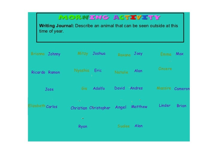 Writing Journal: Describe an animal that can be seen outside at this       time of year. Brianna Johnny         Mitzy    J...