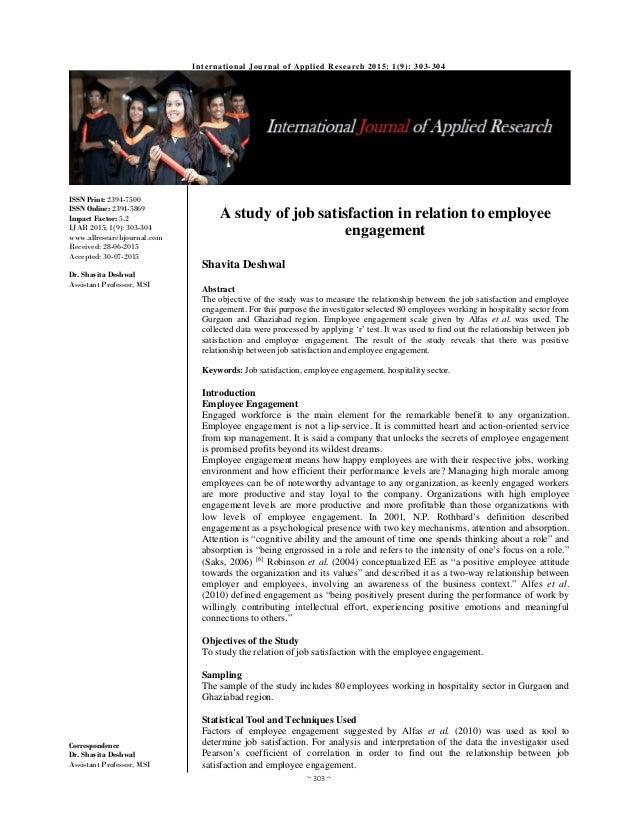 employee engagement and job satisfaction pdf