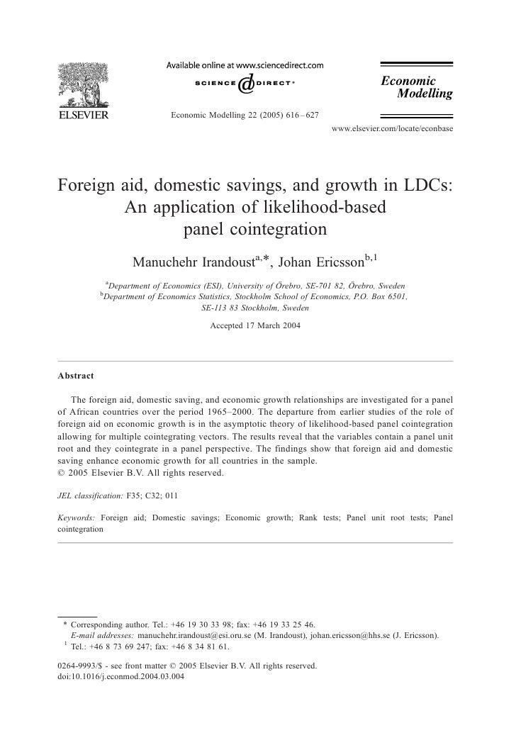 Foreign Aid, Domestic Savings, & Growth in LDC's