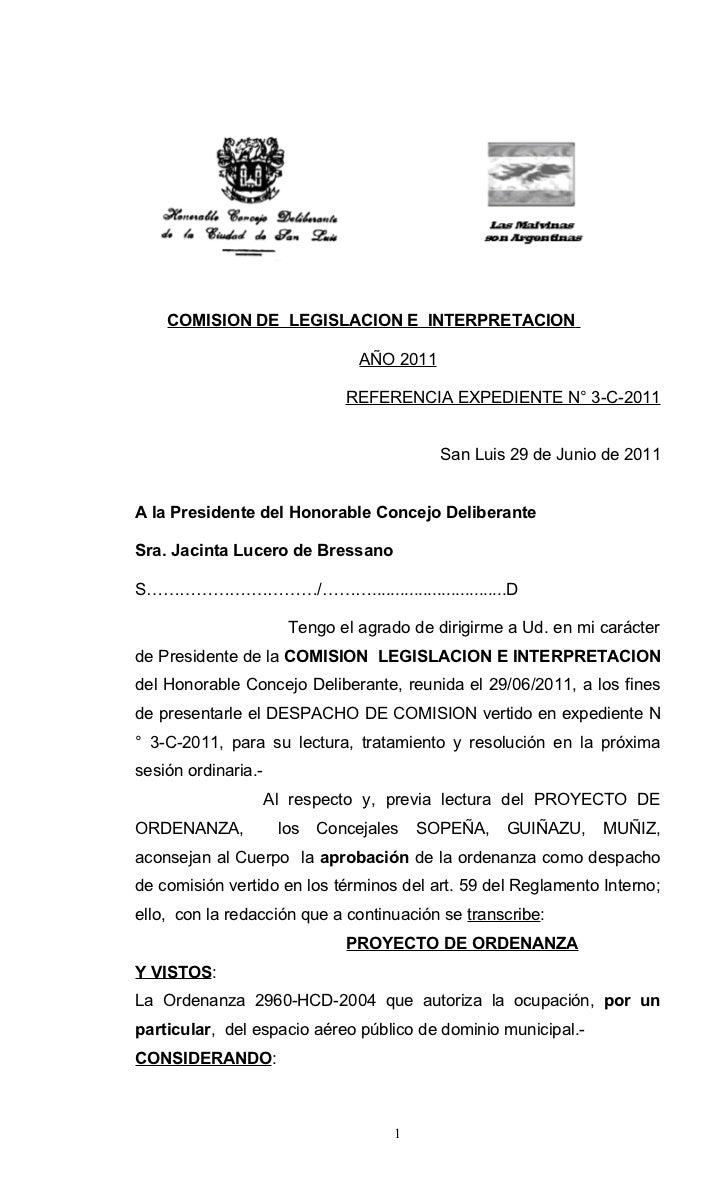COMISION DE LEGISLACION E INTERPRETACION                                 AÑO 2011                               REFERENCIA...