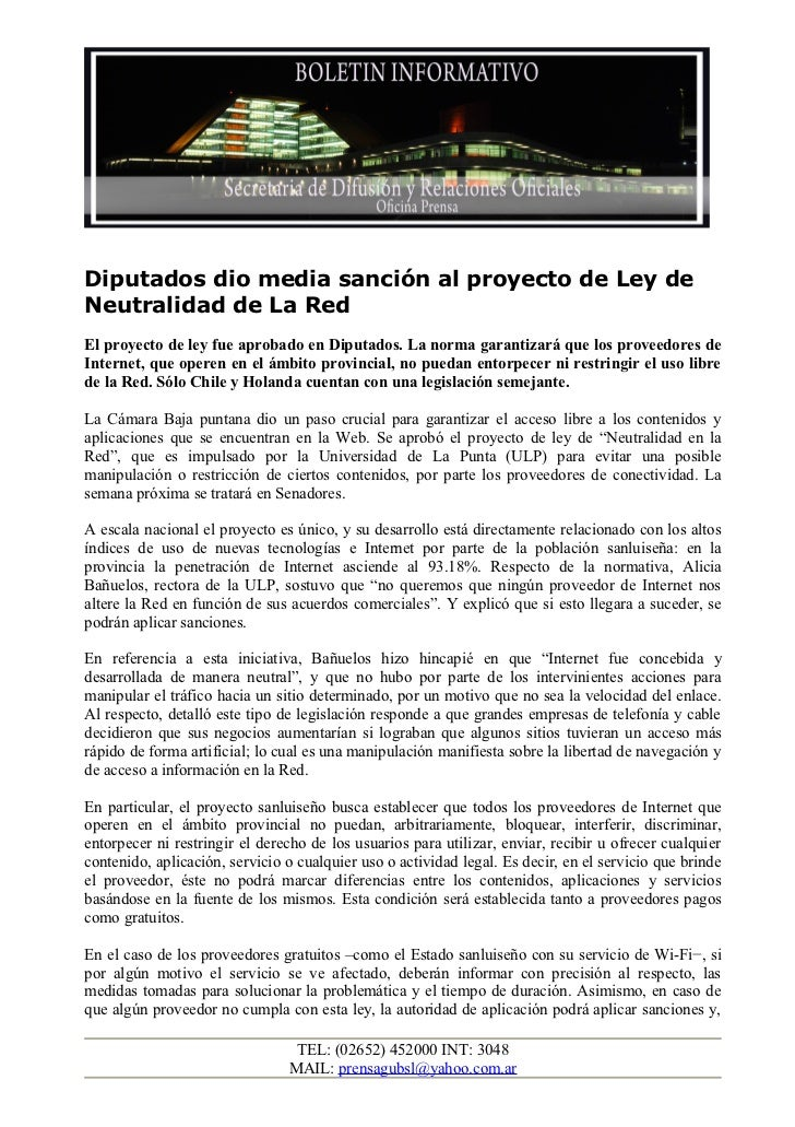 Diputados dio media sanción al proyecto de Ley deNeutralidad de La RedEl proyecto de ley fue aprobado en Diputados. La nor...