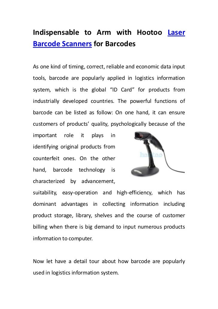 Indispensable to Arm with Hootoo Laser Barcode Scanners for Barcodes <br />rightcenterAs one kind of timing, correct, reli...
