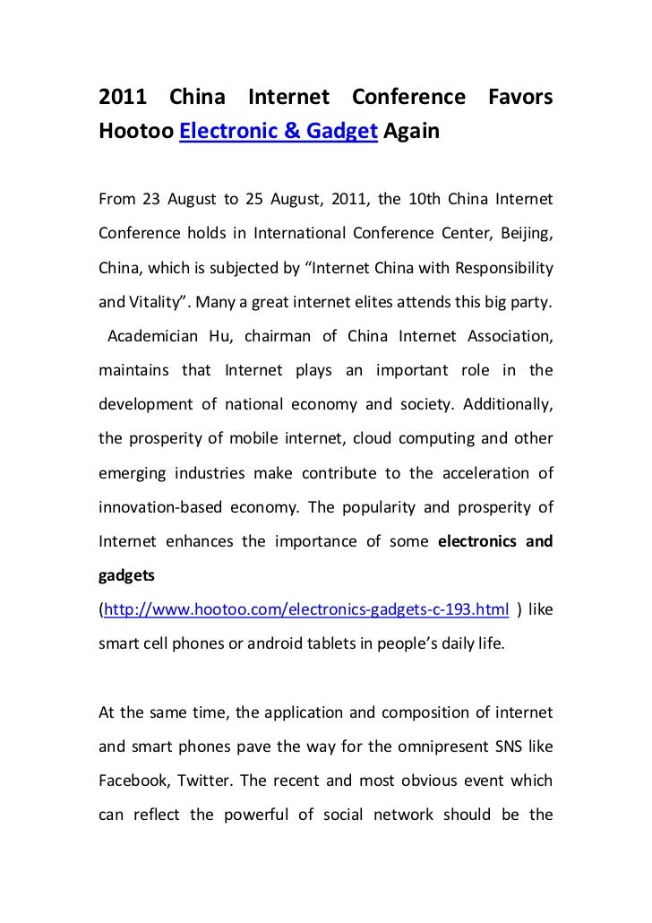 2011 China Internet Conference Favors Hootoo Electronic & Gadget Again <br />From 23 August to 25 August, 2011, the 10th C...