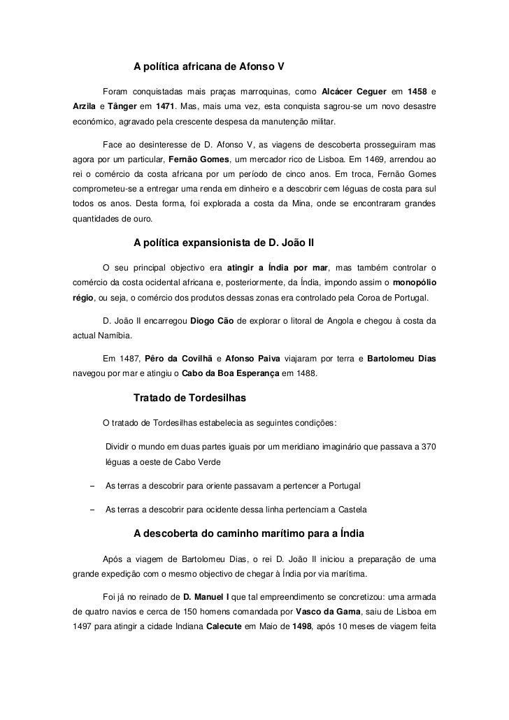 A política africana de Afonso V       Foram conquistadas mais praças marroquinas, como Alcácer Ceguer em 1458 eArzila e Tâ...