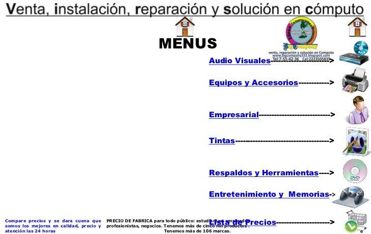MENUS                                                                                     Audio Visuales------------------...