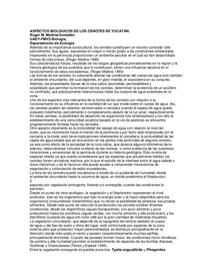 ASPECTOS BIOLOGICOS DE LOS CENOTES DE YUCATÁN.Roger M. Medina-GonzálezUADY-FMVZ-Biología,Departamento de EcologíaAdemás de...