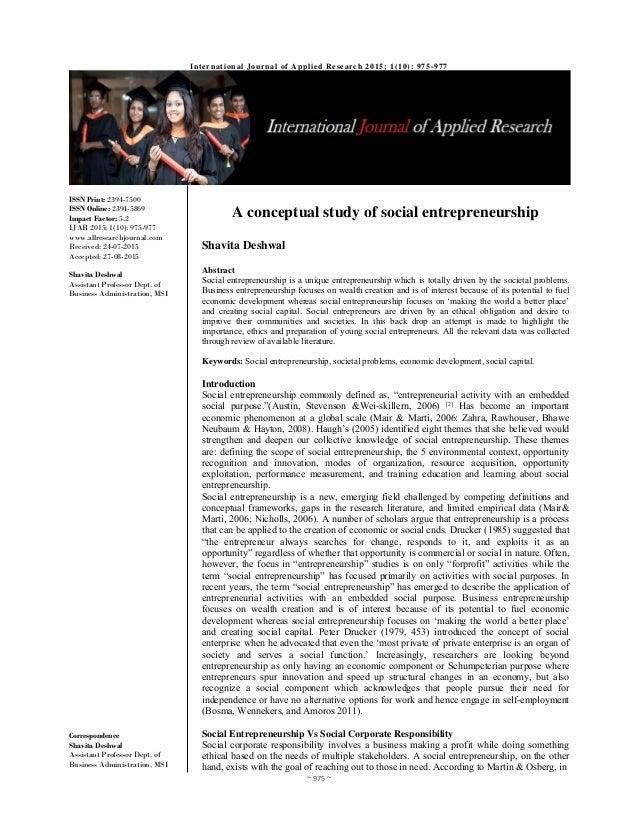 A conceptual study of social entrepreneurship