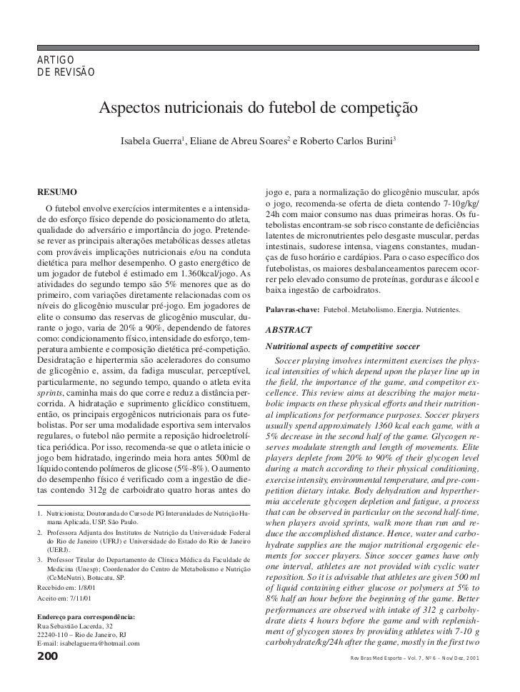 ARTIGODE REVISÃO                     Aspectos nutricionais do futebol de competição                            Isabela Gue...