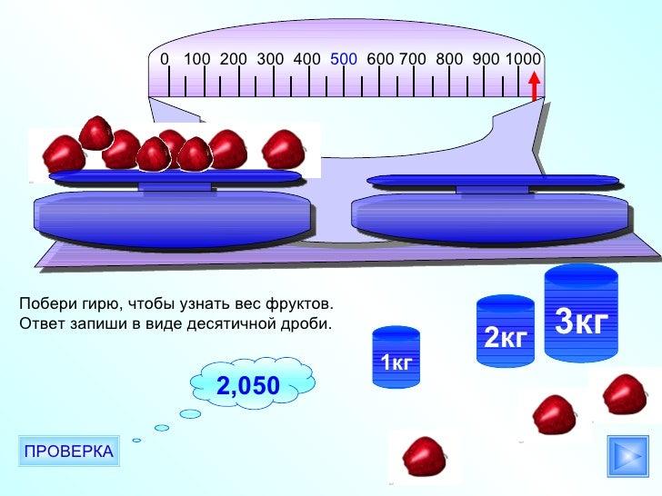 0 100 200 300 400 500 600 700 800 900 1000Побери гирю, чтобы узнать вес фруктов.Ответ запиши в виде десятичной дроби.     ...