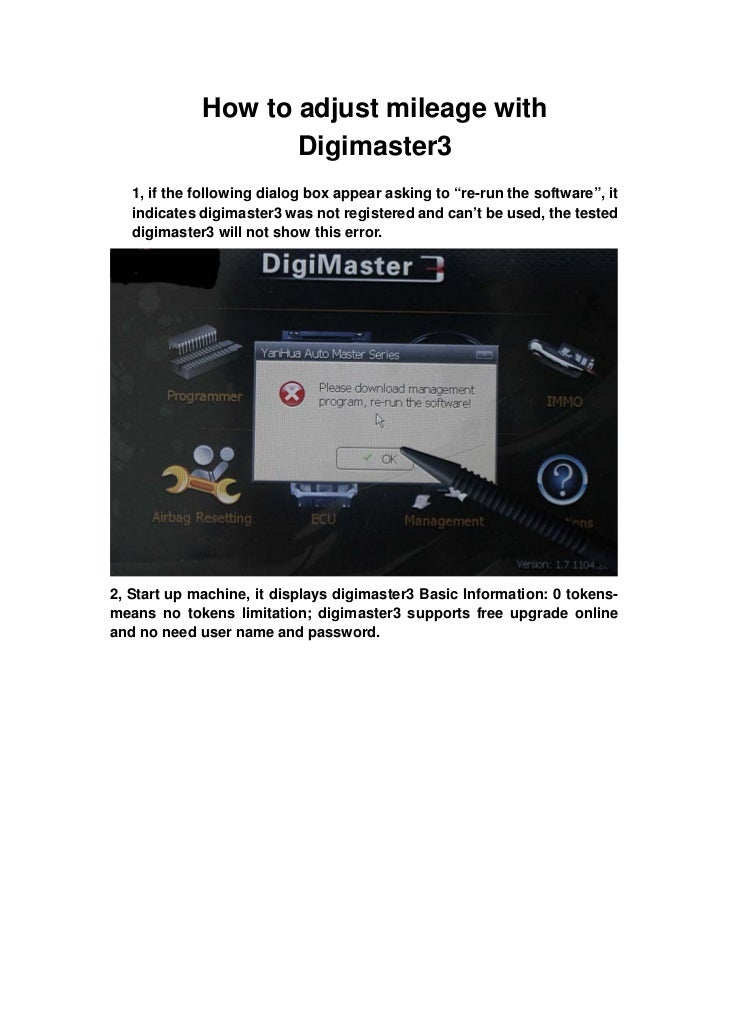 """How to adjust mileage with                    Digimaster3   1, if the following dialog box appear asking to """"re-run the so..."""