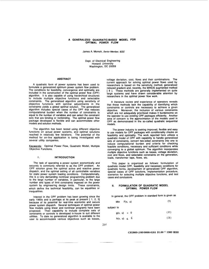 A GENERALIZED QUADRATICBASED MODEL FOR                                             OPTIMAL POWER FLOW                     ...