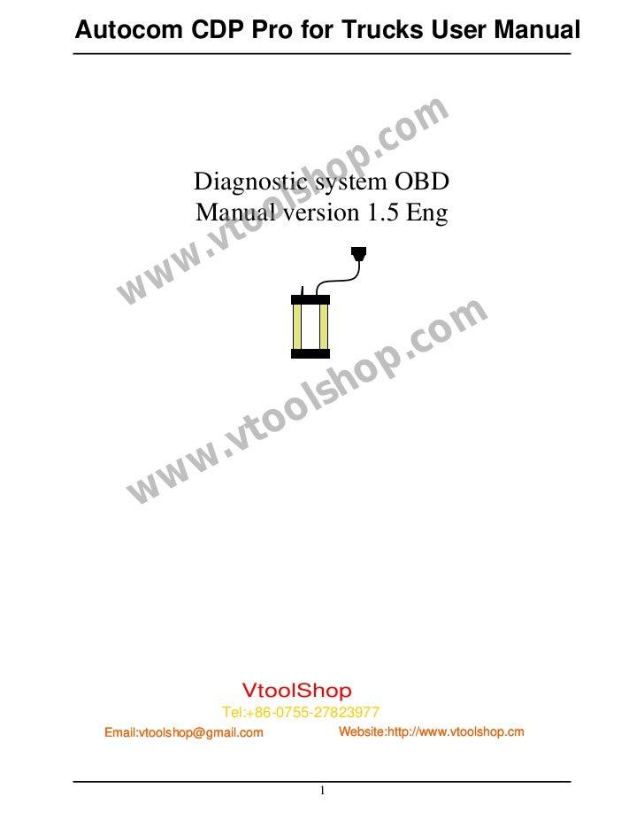 Autocom CDP Pro for Trucks User Manual                                           .c om            Diagnostic h  op OBD    ...