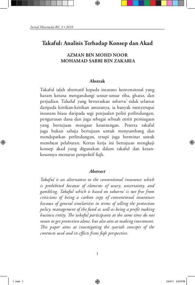 Jurnal Muamalat Bil. 3 • 2010                   Takaful: Analisis Terhadap Konsep dan Akad                                ...