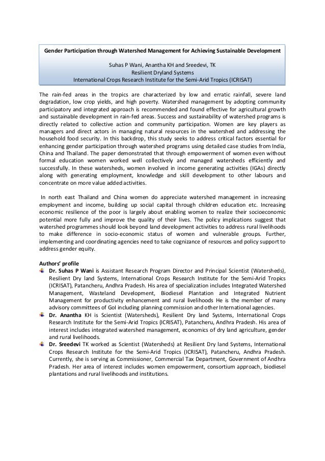 Gender Participation through Watershed Management for Achieving Sustainable Development                            Suhas P...