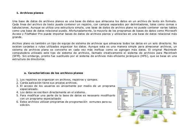 1. Archivos planosUna base de datos de archivos planos es una base de datos que almacena los datos en un archivo de texto ...