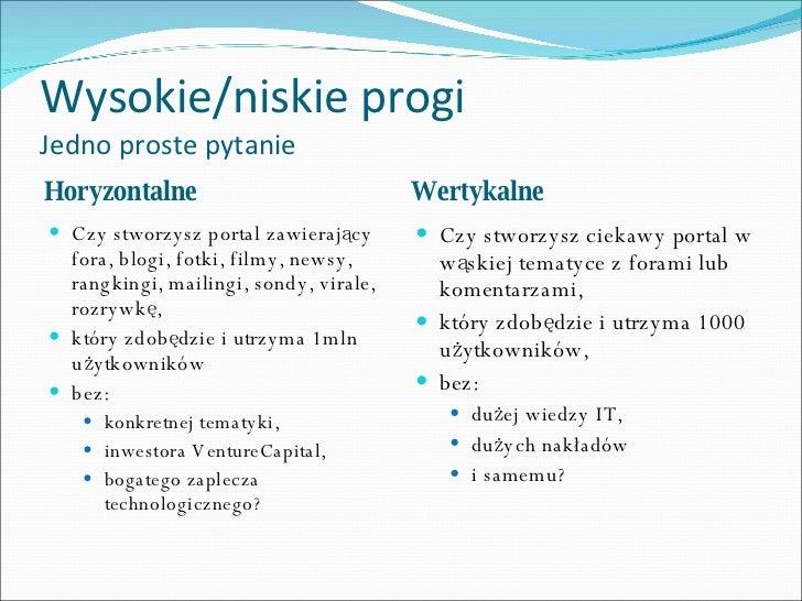 Wysokie/niskie progi Jedno proste pytanie <ul><li>Horyzontalne </li></ul><ul><li>Wertykalne </li></ul><ul><li>Czy stworzys...