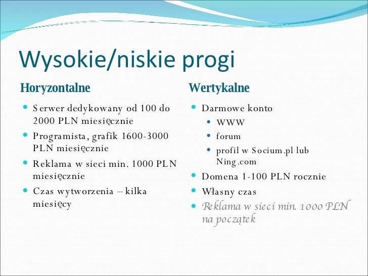 Wysokie/niskie progi <ul><li>Horyzontalne </li></ul><ul><li>Wertykalne </li></ul><ul><li>Serwer dedykowany od 100 do 2000 ...