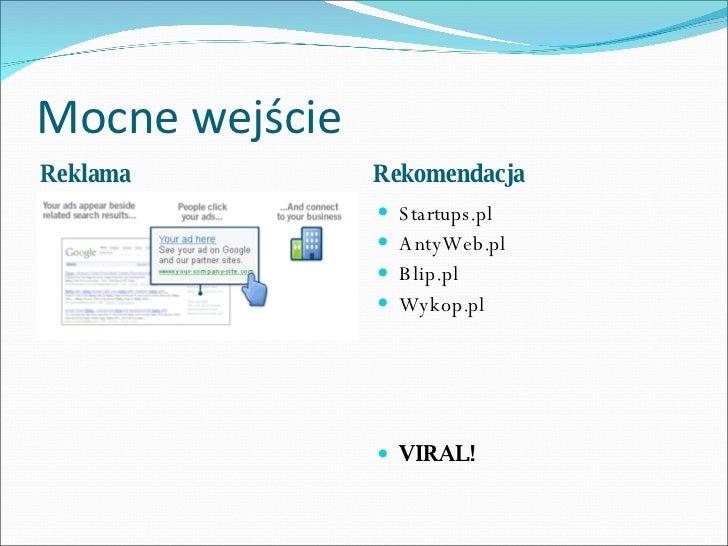 Mocne wejście <ul><li>Reklama </li></ul><ul><li>Rekomendacja </li></ul><ul><li>Startups.pl </li></ul><ul><li>AntyWeb.pl </...