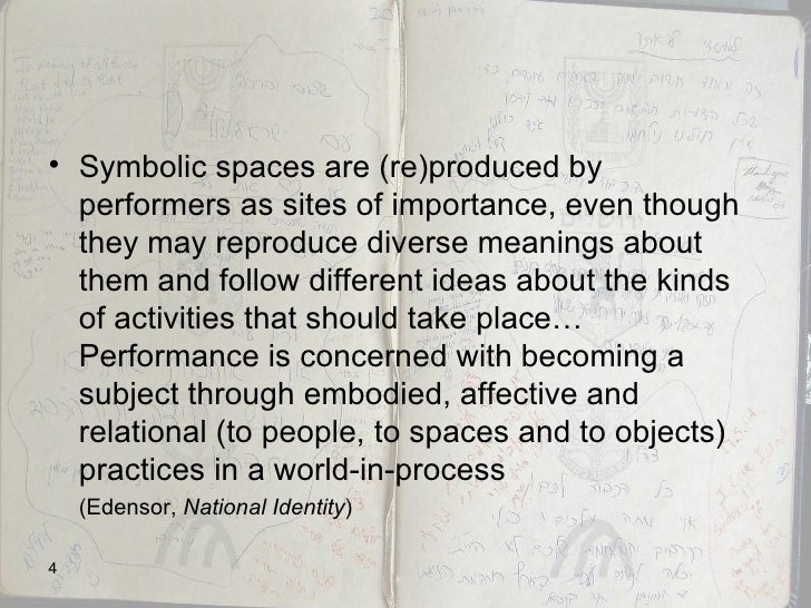 <ul><li>Symbolic spaces are (re)produced by performers as sites of importance, even though they may reproduce diverse mean...