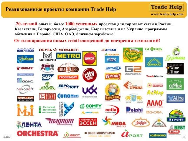 www.trade-help.com 02.03.16 2 Реализованные проекты компании Trade Help 20-летний опыт и более 1000 успешных проектов для ...