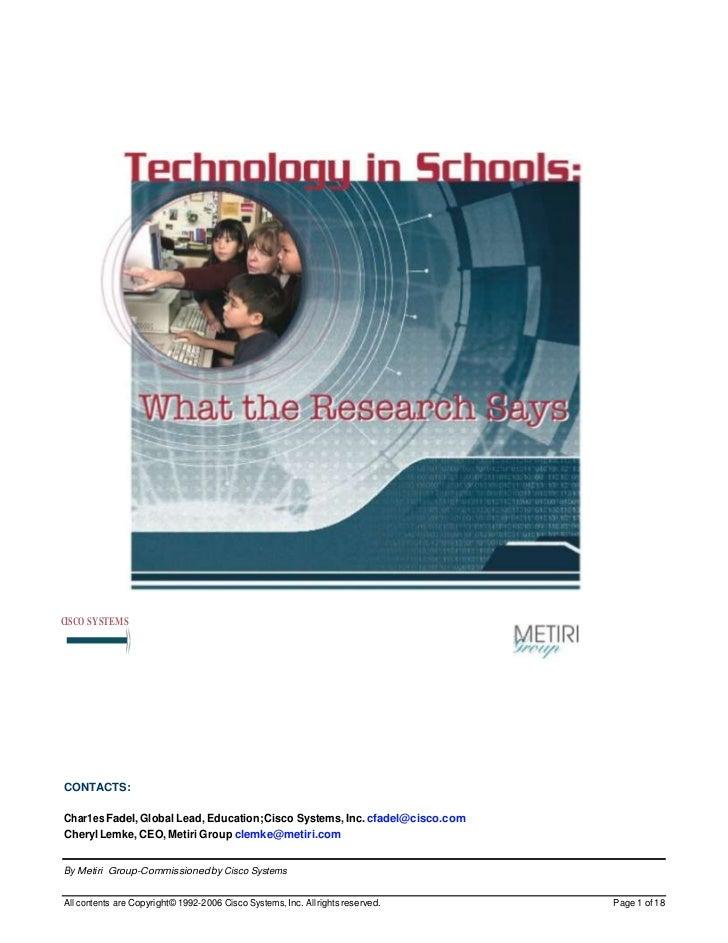 -»CISCO SYSTEMSCONTACTS:Char1es Fadel, Global Lead, Education; Cisco Systems, Inc. cfadel@cisco.comCheryl Lemke, CEO, Meti...