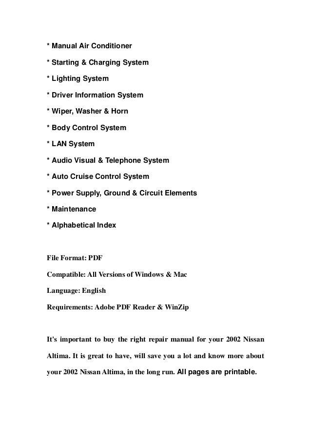 2002 nissan altima service repair manual download rh slideshare net 1995 Nissan Altima 2005 Nissan Altima Manual Book