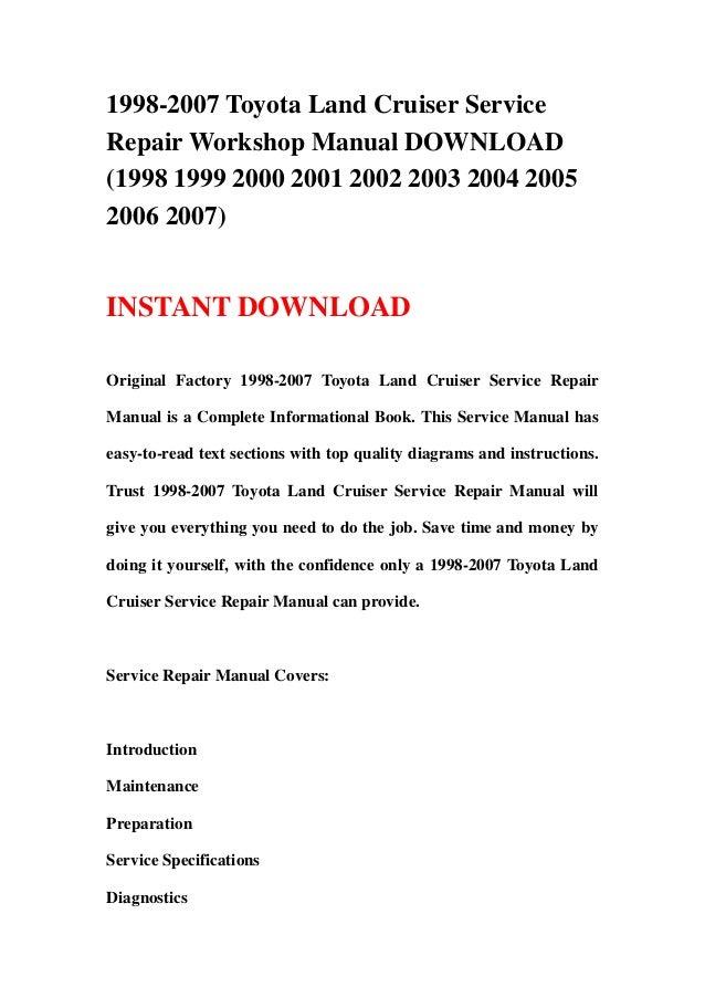 1998 2007 toyota land cruiser service repair workshop manual download rh slideshare net