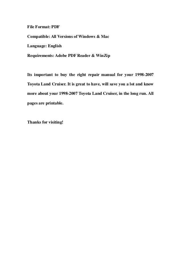 1998 2007 toyota land cruiser service repair workshop manual download rh slideshare net 2004 land cruiser repair manual 2004 land cruiser repair manual