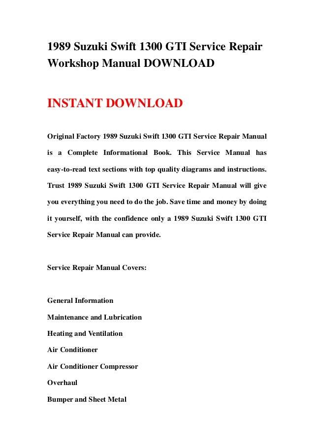 1989 suzuki swift 1300 gti service repair workshop manual rh slideshare net