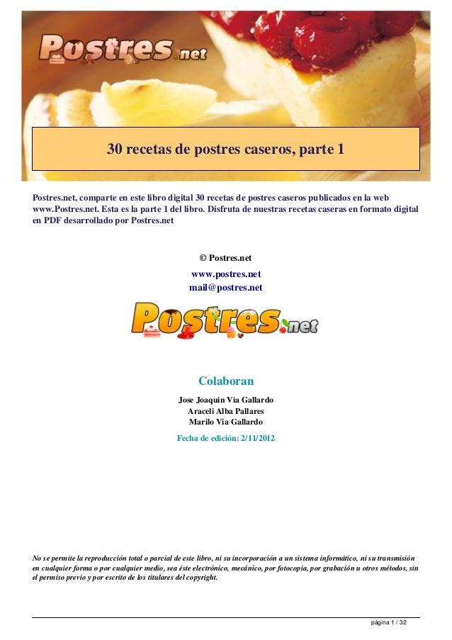 30 recetas de postres caseros, parte 1                                             Postres.net - http://www.postres.net   ...