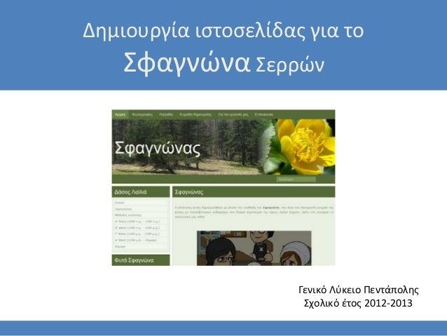 Δημιουργία ιστοσελίδας για το    Σφαγνώνα Σερρών                      Γενικό Λύκειο Πεντάπολης                       Σχολι...
