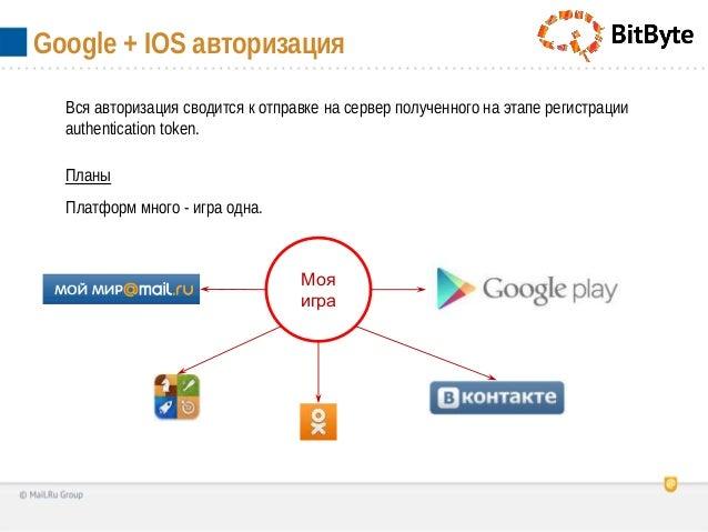 Google + IOS авторизацияВся авторизация сводится к отправке на сервер полученного на этапе регистрацииauthentication token...