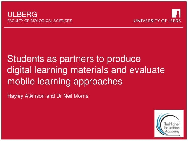 School of something FACULTY OF OTHER ULBERG FACULTY OF BIOLOGICAL SCIENCES Students as partners to produce digital learnin...