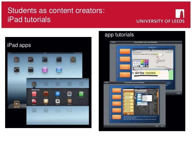 Students as content creators: iPad tutorials iPad apps app tutorials