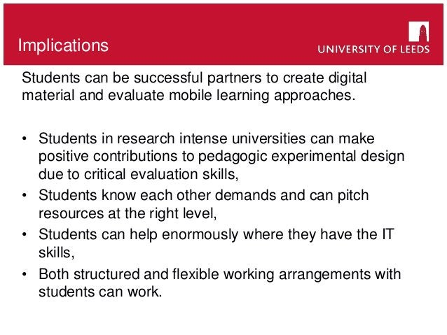 School of something FACULTY OF OTHERImplications Students can be successful partners to create digital material and evalua...