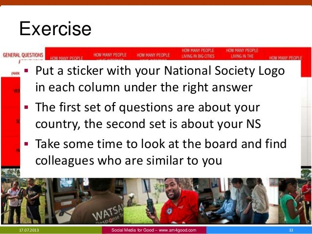 Exercise  Put a sticker with your National Society Logo in each column under the right answer  The first set of question...
