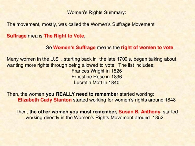 Summary of women's suffrage