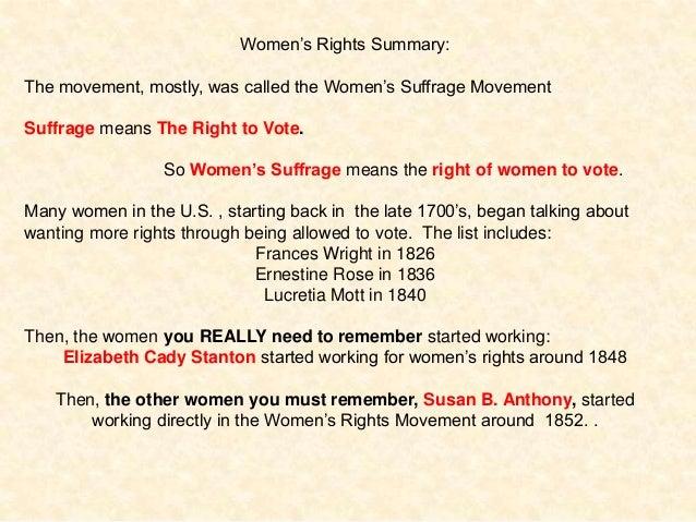 Summary of women's suffrage