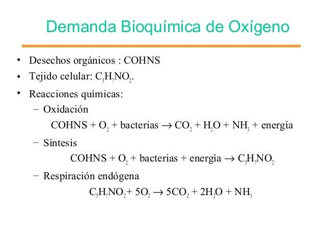 Demanda Bioquímica de Oxígeno • Desechos orgánicos : COHNS • Tejido celular: C5H7NO2. • Reacciones químicas: – Oxidación C...