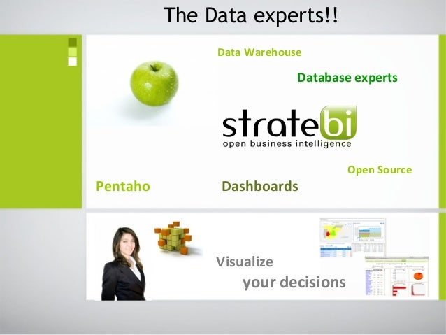 Data Warehouse Database experts Open Source Pentaho Dashboards The Data experts!! Visualize your decisions