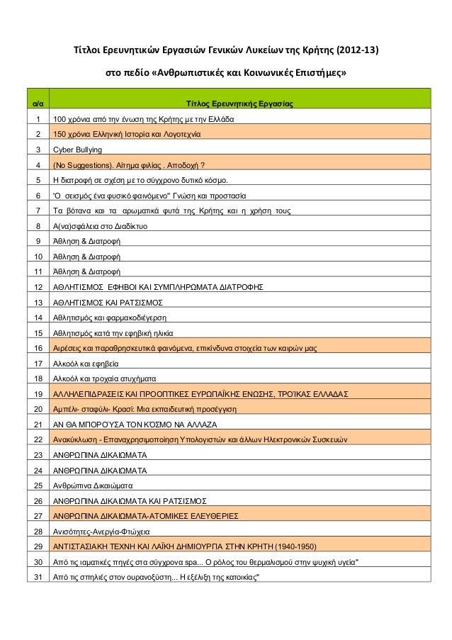Τίτλοι Ερευνητικών Εργασιών Γενικών Λυκείων της Κρήτης (2012-13) στο πεδίο «Ανθρωπιστικές και Κοινωνικές Επιστήμες» α/α Τί...