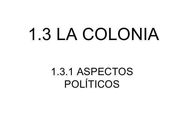 1.3 LA COLONIA 1.3.1 ASPECTOS POLÍTICOS