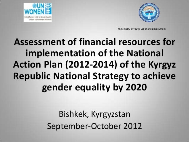 KR Ministry of Youth, Labor and Employment Assessment of financial resources for implementation of the National Action Pla...